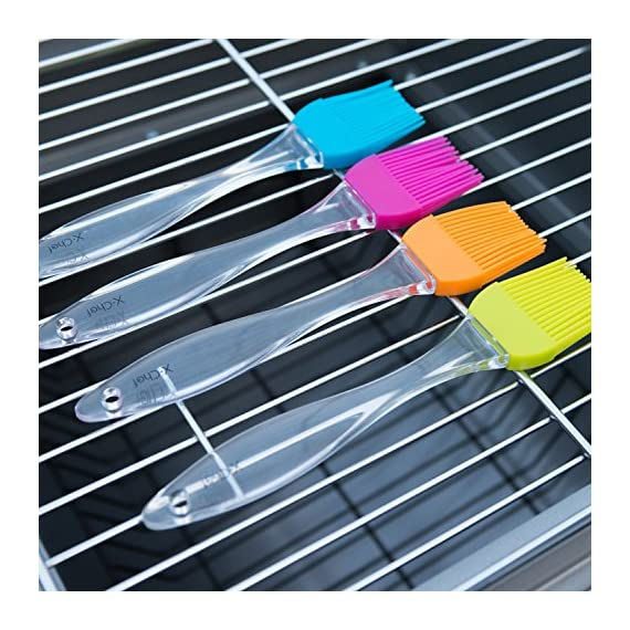 X-Chef Silicone Basting Pastry Brushes for Cooking Baking BBQ, Kitchen Brush for Food Butter Grilling Sauce, Heatproof… 2 4 VIBRANT COLOR: The X-Chef baking brush set includes blue, green, orange and pink. Different color can avoid flavor crossing, making grilling an easy and enjoyable experience! 100% FOOD GRADE SILICONE: X-chef basting brush set is made from food grade and BPA free silicone. No more bristle shed on food and their lifetime can be extended with simple handwash. 446°F HEAT RESISTANT: X-Chef BBQ and pastry brushes can withstand up to 446 °F/ 230 ℃ from oven or grilling. They won't deform, stain or stink even under high temperatures.