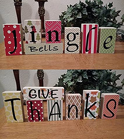 Amazon.com: Give Thanks - Jingle Bells: DIY Unfinished Wood n Vinyl ...
