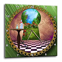3dRose LLC dpp_128860_3 Wall Clock, 15 by 15-Inch, Through The Keyholes Alice in Wonderland Art Checkered Floor Bottle of Magic Water