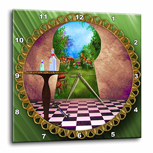 3dRose DPP_128860_1 Through The Keyholes Alice in Wonderland Art Checkered Floor Bottle of Magic Water Wall Clock, 10 by 10-Inch