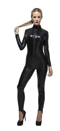 Smiffys Fever Kollektion Miss Whiplash Kostüm Schwarz mit Reißverschluss-Catsuit, X-Small
