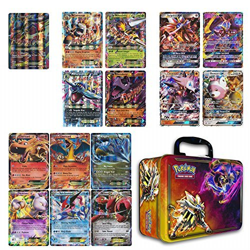 10 Jumbo Pokemon Cards in Collectors Chest Tin 1 Full Art Mega 1 Mega Ex 2 Gx and 6 Ex