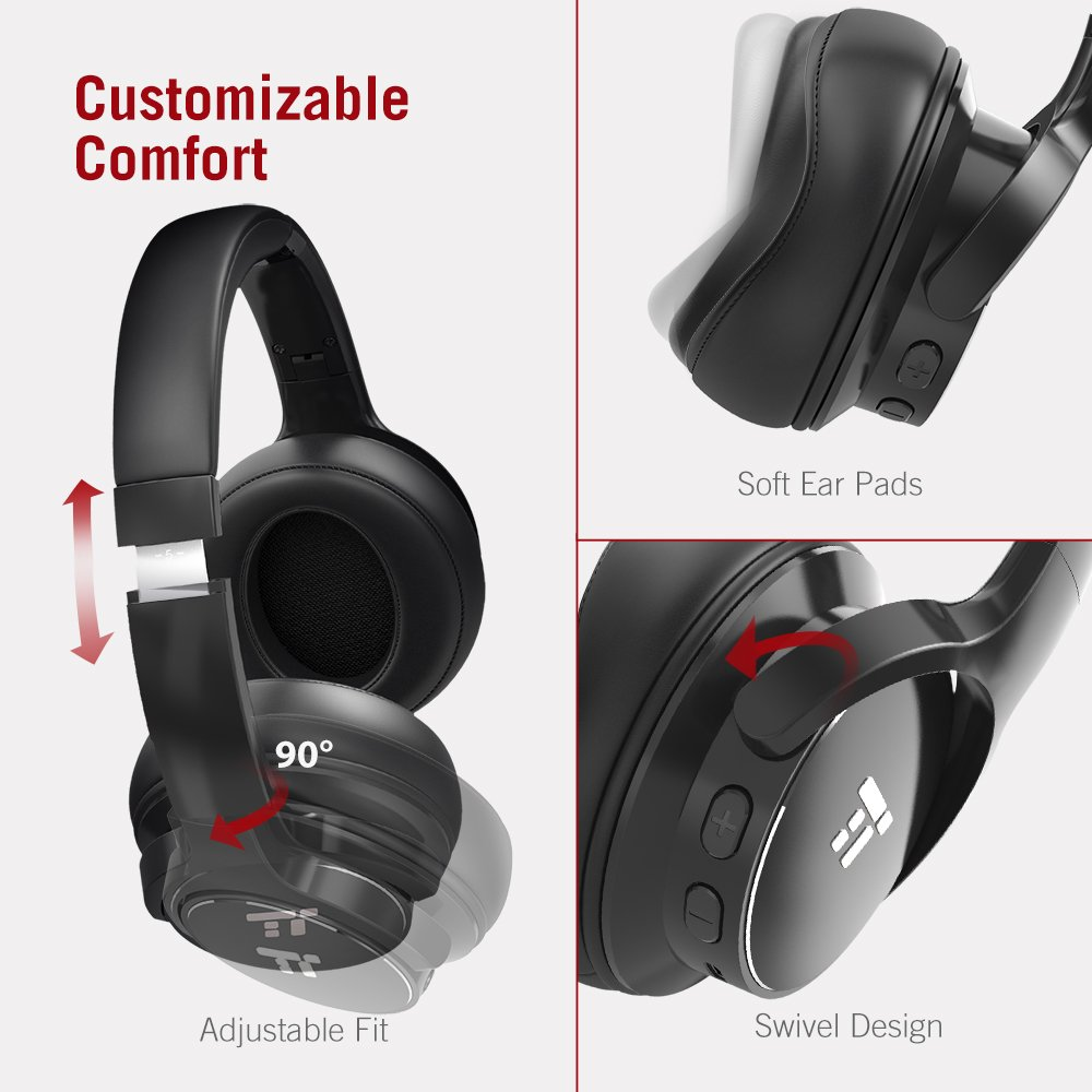 TaoTronics Active Noise Cancelling Bluetooth Headphones HiFi Stereo Wireless Over Ear Deep Bass Headset w/cVc Noise Canceling Microphone 30 Hour Playtime Comfortable Earpads for Travel Work TV by TaoTronics (Image #4)