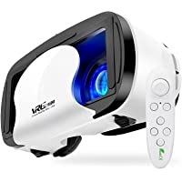 VR Headset with Controller Adjustable 3D VR Glasses Virtual Reality Headset HD Blu-ray Eye Protected Support 5~7 Inch…