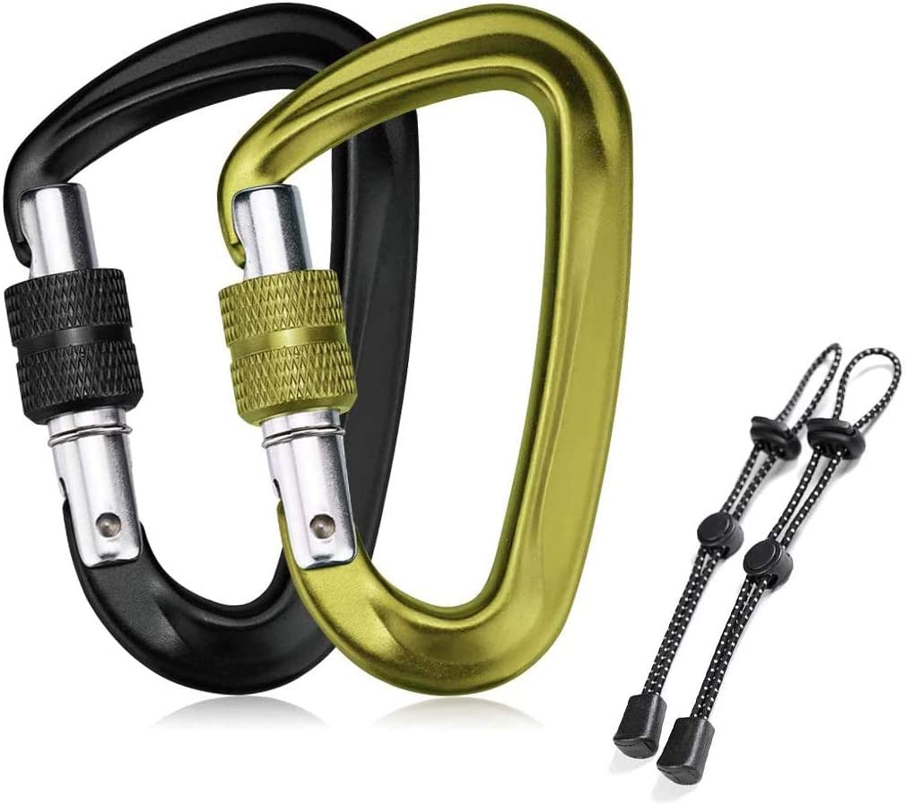 STURME Locking Carabiner Clip Screwgate Carabiner Heavy Duty for Hammocks Traveling Dog Leash and More 12KN//2697lbs Aluminium Ultra Sturdy /& Light 2 Pcs