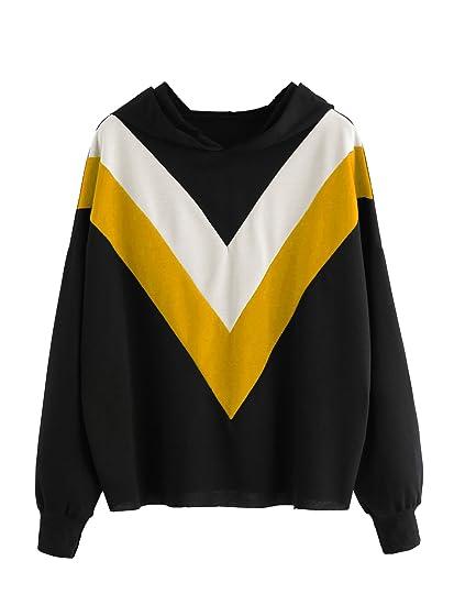 0749d2a468434e Romwe Women's Chevron Striped V Print Hooded Sweatshirt Long Sleeve Color  Block Hoodie Top Sweater Yellow
