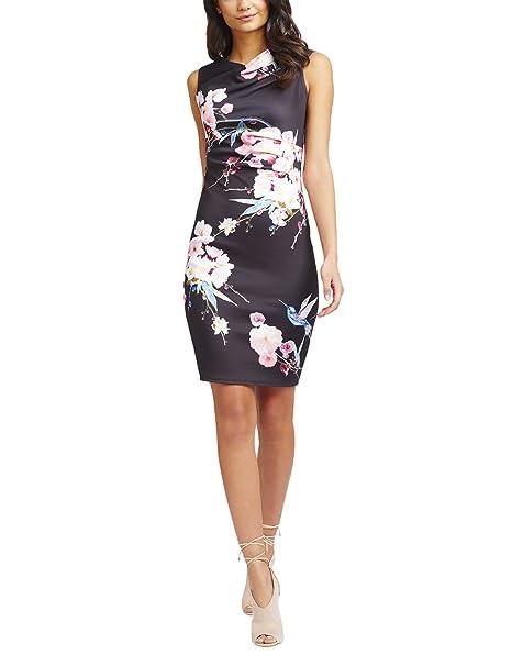Lipsy Mujer Vestido Tubo Estampado Flores Oriental Mangas Cortas