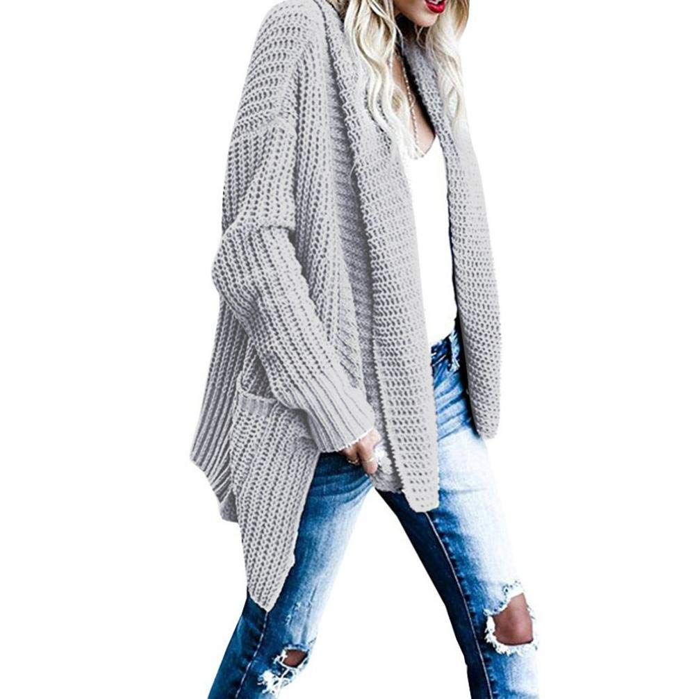 Pandaie Jacket,Women's Loose Fit Long Sleeve Knitted Cardigan Sweaters Outerwear with Pocket