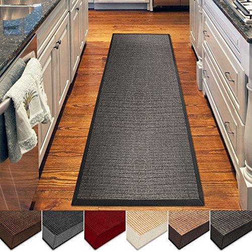 casa pura Sisal Rug | 100% Natural Fiber Area Rug | Non-Skid Eco-Friendly Throw Carpet for Entryway, Dining or Living Room | Various Colors and Sizes | Gray - 2.6' x 9' Cotton Border Jute