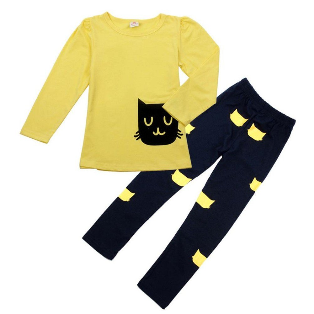 Orangeskycn New Kids Girl Long Sleeve Cartoon Cat Shirt Pant Suit Orangesky 1063