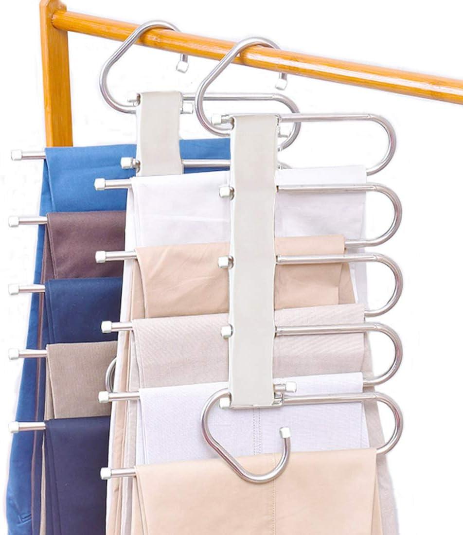 Tosoda 2 Piezas de Perchas para Pantalones Perchero de Acero Inoxidable Pesado para Pantalones Bufandas Vaqueros (Modelo - 1)