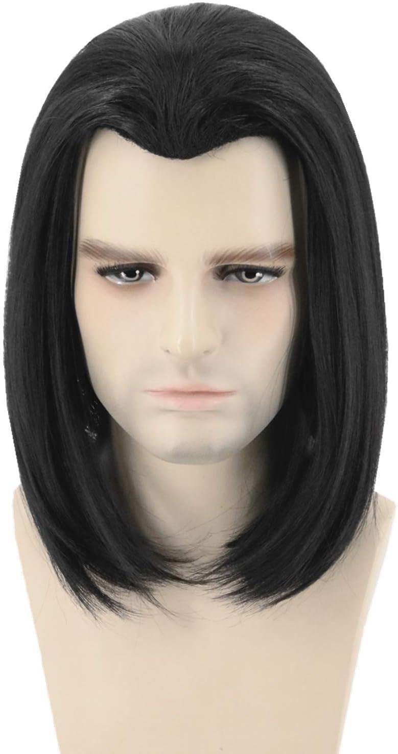 FVCENT courte perruque noire et noire de Vincent Vega de perruque de Pulp Fiction