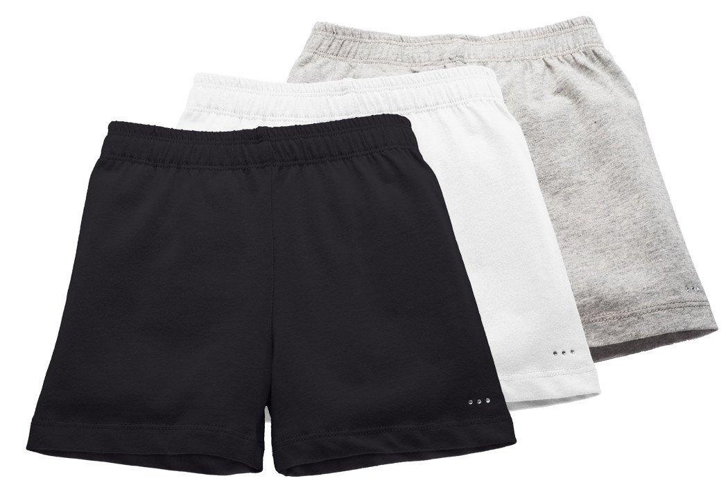 Big Girls Comfortable Cotton Playground Shorts, 3-Pack Gray/White/Black, Size 6