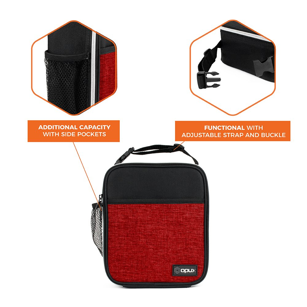 OPUX Premium Thermal Insulated Mini Lunch Bag | School Lunch Box For Boys, Girls, Kids, Adults | Soft Leakproof Liner | Compact Lunch Pail for Office (Heather Red) by OPUX (Image #5)