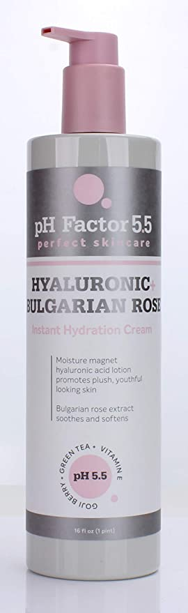 Amazon Com Ph Factor 5 5 Anti Aging Hyaluronic Acid Cream For Face And Body Hydrating Cream With Hyaluronic Acid Bulgarian Rose Green Tea Vitamin E And Goji Berry Large 15oz Bottle With Pump Beauty