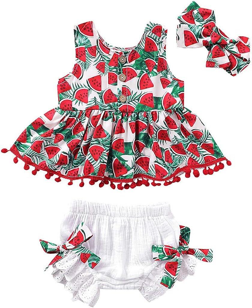 BBSMLIN Ropa Bebe Niña Verano 2020 Ropita para Recién Nacido Bebé 0 a 6 12 18 Meses 2 a 3 Años - 3PC Conjunto, Sandía Blusa con Bola de Borla + Pantalón Cortos + Cintas de Pelo