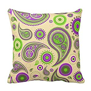 Home Decorative Purple And Green Paisley 2 Throw Pillow Cover Cotton Pillowcase Cushion Cover 18 X 18