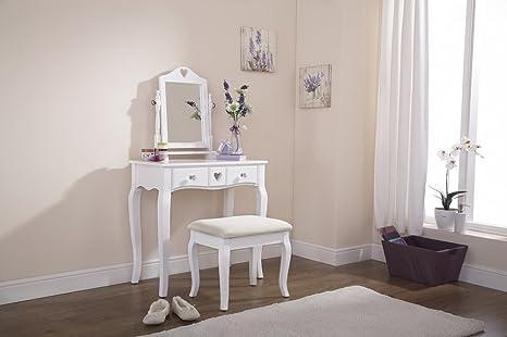 Home source vanity toletta con sgabello e specchio bianco 1
