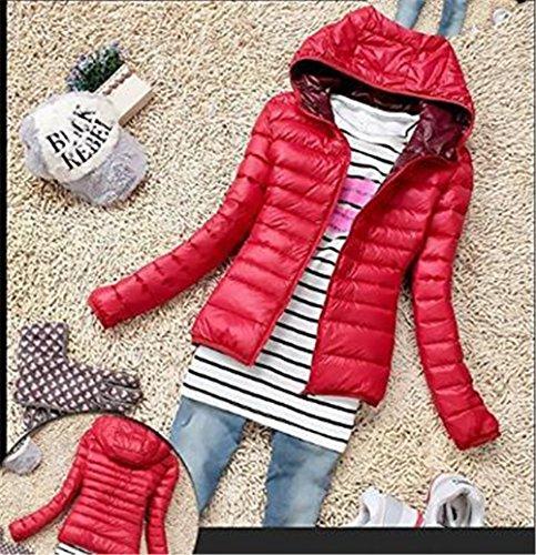 Cremallera Red Hoodie Outwear Con Color con Clasicos Chaquetas BESTHOO Mujer SÓLido Larga Jacket Caliente Basic Mantener Capucha Abrigos Corto Manga Chaquetas ZxBwpqR