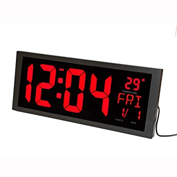 LambTown Led Reloj de pared Digital con Temperatura interior Calendario Semana y Fecha Ahorro de Tiempo