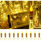 Decorman Wine Bottle Cork Lights with Candle Flame 10 Packs 20 LED Warm White Battery Operated Copper Wire String Lights…