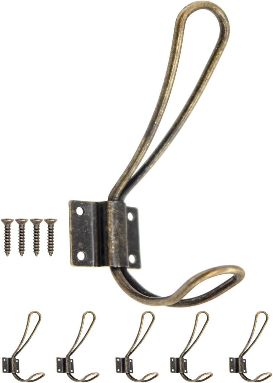 Fuxxer/® Classic Coat Hook Hat Hook Iron Metal Hook Antique Bronze Brass Design Vintage Country House Retro 138 x 59 mm Set of 5