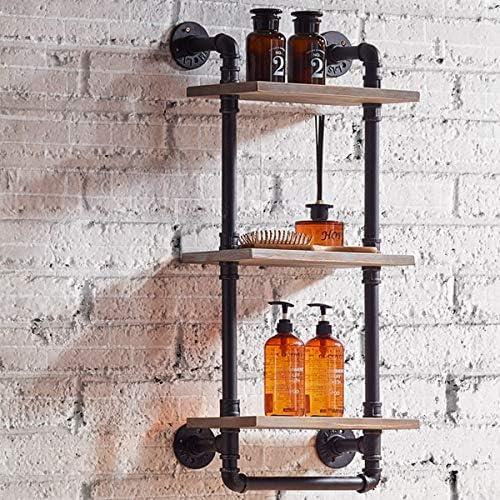 FURVOKIA Industrial Vintage Bathroom Towel Rack,Wall Mount Towel Pipe Shelf,Bar Organization Wine Racks,Kitchen Accessories Storage Tool Cabinet Black Brush Silver,13.8 L x 8.6 W x 33.5 H
