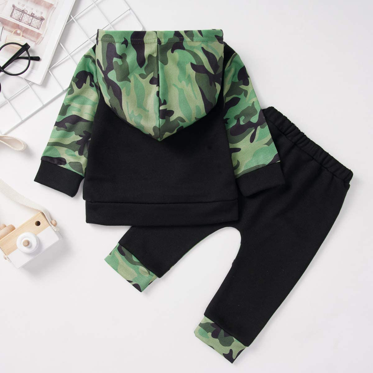Pants Clothes Set Camouflage Sweatsuit Outfit Short Sleeve Hoodie Top Baby Boys Tracksuit