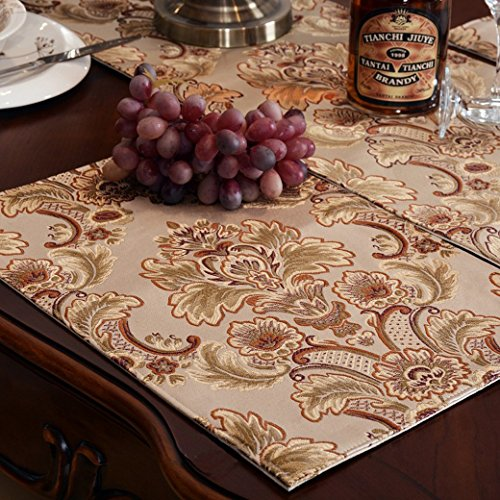 Modern Luxury Jacquard Fabric Floral Table Placemats(12x18 Inch) Set Of 4