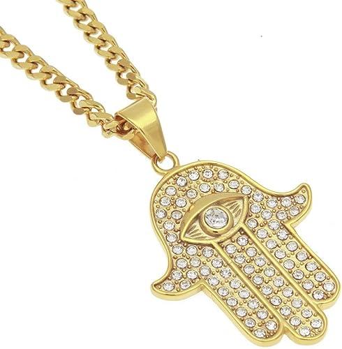 para hombre acero Inoxidable color dorado estilo hip-hop Mcsays Collar de cadena con colgante de mano de F/átima con ojo