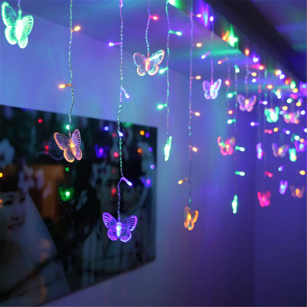 BJYHIYH USB Powered Icicle Lights Butterfly Twinkle Lights 1.5M x 0.5M 48 LED Window Curtain Fairy Lights for Bedroom Garden Party Christmas Decoration(Colored)