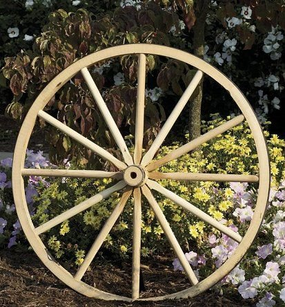 Wood Hub (Decorative - Wood Wagon Wheel - 42 Inch x 2 Inch Steam Bent Hickory Wagon Wheel with wooden hub)