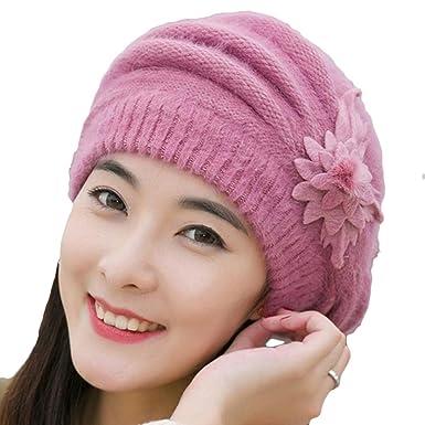 e338cac1688 Wonderful Fashion Women Flower Knit Crochet Beanie Hat Winter Warm Cap Beret  (pink)