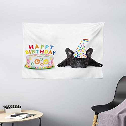 Ambesonne Birthday Party Tapestry, Sleepy French Bulldog Party Cake with Candles Cone Hat Celebration Image, Wide Wall Hanging for Bedroom Living Room Dorm, 60 X 40 , Black Rainbow