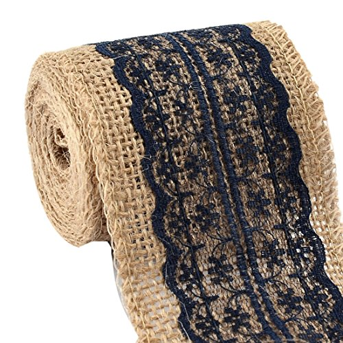 uxcell Burlap Hessian Strap Art Crafts Lace Ribbon Roll Trim Edge 2.2 Yards Navy Blue for (Navy Blue Lace Ribbon)