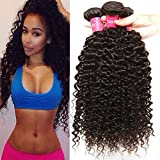 Longqi Hair Good Quality Brazilian Curly Hair Weave 3 Bundles Virgin Human Hair Extensions Natural Color 95-100g/pc (14 16 18inch)