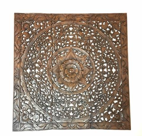 Thai Handmade Wood Carved Wall Panels. Large Square Wood Wall Decor. Decorative Wall Art Plaque.36''x36''x0.5'' (Brown) by WADSUWAN SHOP