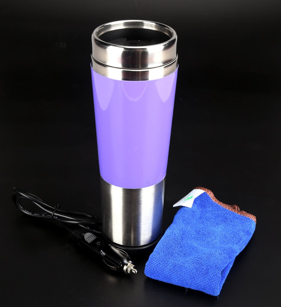 DTS-ES 450ml Stainless Steel Electrical Heating Cup, Dc 12V, Used In Car Cigarette Lighter Socket, The Water Be Boils Only Need 10 Minutes, Holiday Gift,Used For Coffee, Hot Drinks On Car To Travel