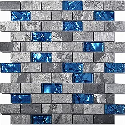 Blue Glass and Gray Natural Marble Subway Tile Bathroom and Kitchen Backsplash NB03