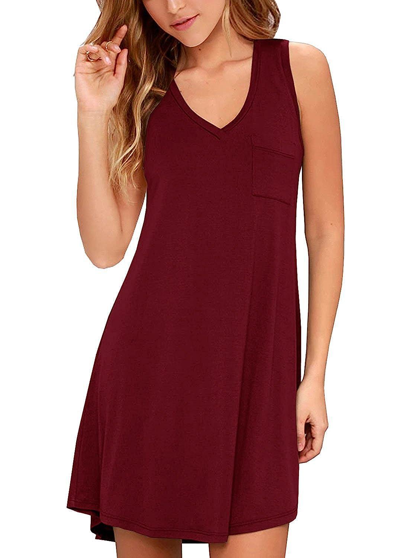 02wine Red KEEDONE Women's Sleeveless Pockets Casual Swing TShirt Dresses