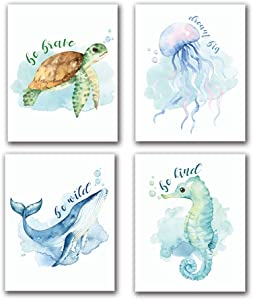 "LONLONBANG Funny Watercolor Ocean Life Quotes Art Print, Canvas Picture Poster for Nursery Kids Girls Bedroom Bathroom Home Decor, Sea Turtle sea Horse Jellyfish Whale, Set of 4 (8""X10""), No Frame"