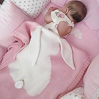 SUNBABY Kids Blankets, Cute Rabbit Crochet Newborn Blanket Baby Bedding Cover Bath Towels Play Mat (Pink)