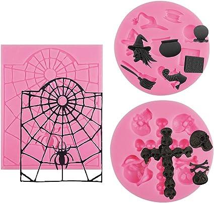 Silicone Halloween Spider Web Fondant Mould Cake Chocolate Baking Decorating PF