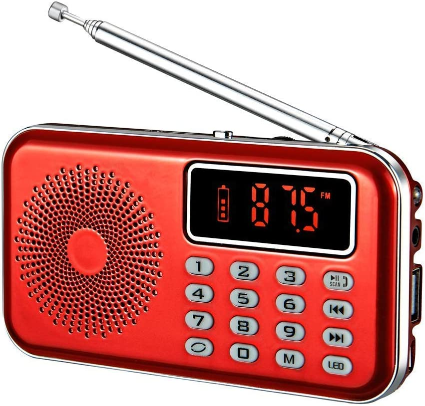 YMDJL Portable AM FM Radio with Bluetooth Speaker and SD Card Player,MP3 Player with Headphones Socket,Auto Scan Save,Rechargeable Battery Transistor Radio (Red)