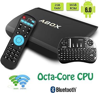 Globmall Versión Pura Abox A3 TV Box 2GB 16GB Android 6.0 Amlogic Octa Core CPU Gigabit Ethernet Bluetooth 4.0 Dual Band Smart TV con Teclado Qwerty Inalámbrico: Amazon.es: Electrónica