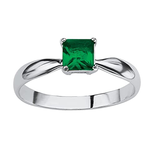 Lux Sterling Silver Princess Cut Simulated Birthstone Solitaire Ring – May – Simulated Emerald