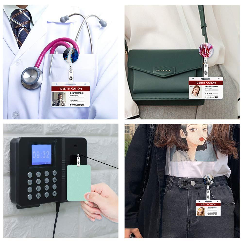 Porta Badge con Nome ID con Clip da Cintura Artscope 12 Pezzi Porta-Bobina Porta Badge Retrattile Stile Marmo Portabadge per Infermiera Stile 2
