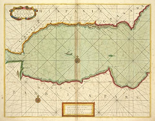 Historic 1702 Map | A chart of the sea coast of SPAIN from the Straits mouth to C de | Antique Vintage Map Reproduction by historic pictoric