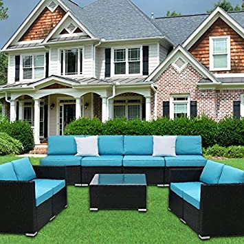 Kinbor 9PC Outdoor Sectional Sofa Set Rattan Wicker Patio Furniture Sofas with Washable Cushions Modern Glass Coffee Table, Blue