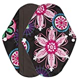 Polwer Sanitary Reusable Cloth Menstrual Pads, Washable Sanitary Napkins - Mama Cloth Panty Liner (L, Black)